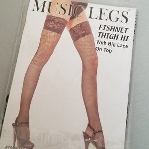 🌟NWT - fishnet thigh hi stockings with lace